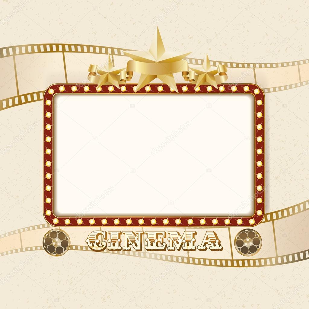 Brillante el banner de cine. Marco retro con luces, estrellas, cinta ...