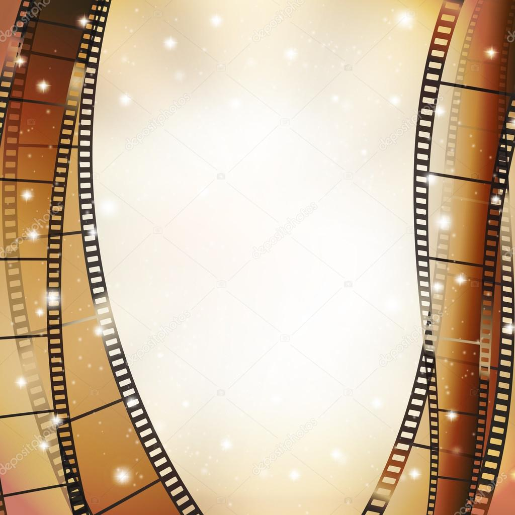 Cinema background with retro filmstrip and stars as vertical border stock vector
