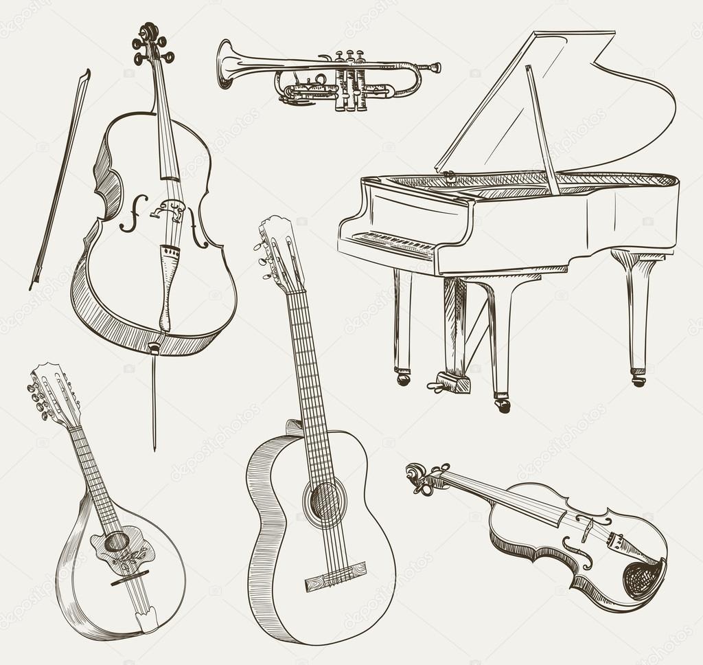 Müzik Aletleri çizimleri Kümesi