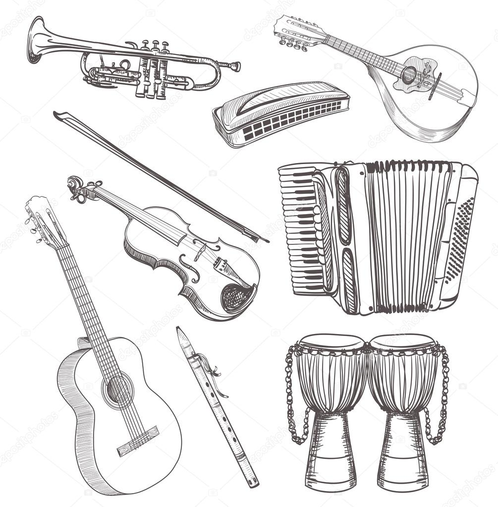 Images Musical Instruments Drawing Folk Musical Instruments Drawing Set Stock Vector C Ghenadie 71120977