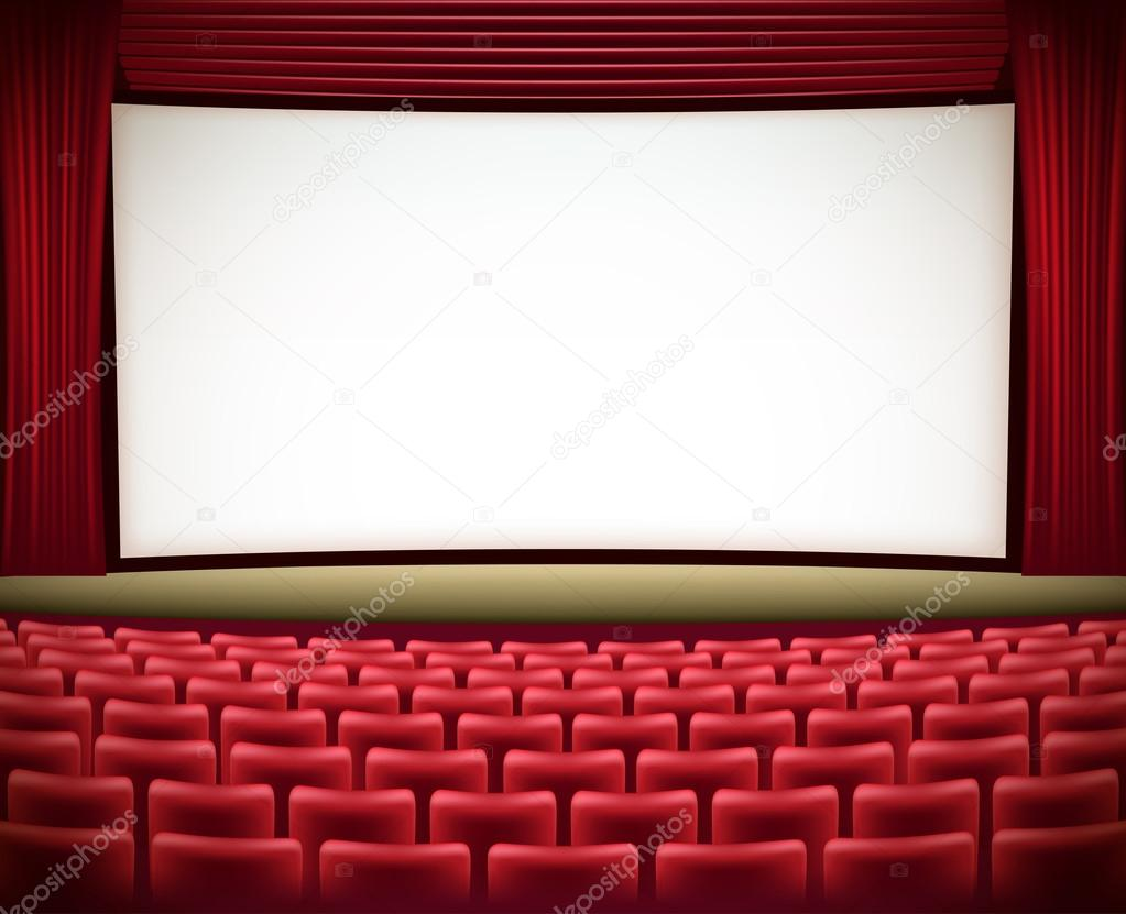 Cinema Theater Background With Red Seats And Red Curtains Stock Vector C Ghenadie 72085395