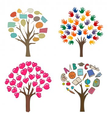 Set of conceptual drawings with trees, love, message, school