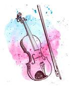 Fényképek akvarell kézzel rajzolt hegedű splash. vektor