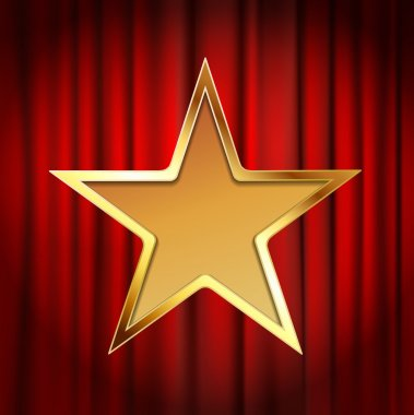 golden star frame with red theater curtain background