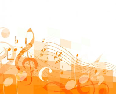 orange horizontal mosaic background with musical notes and treble clef. vector