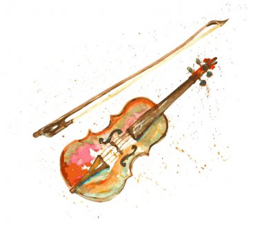 watercolor hand drawn violin