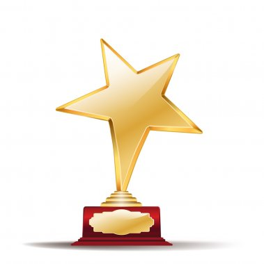 Golden star award on white