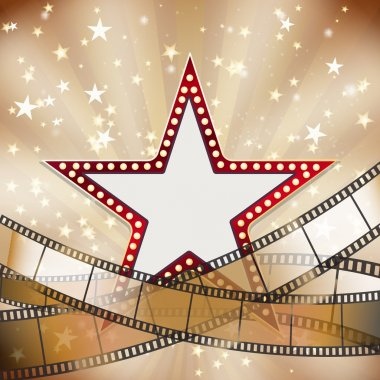abstract vintage cinema background with red star