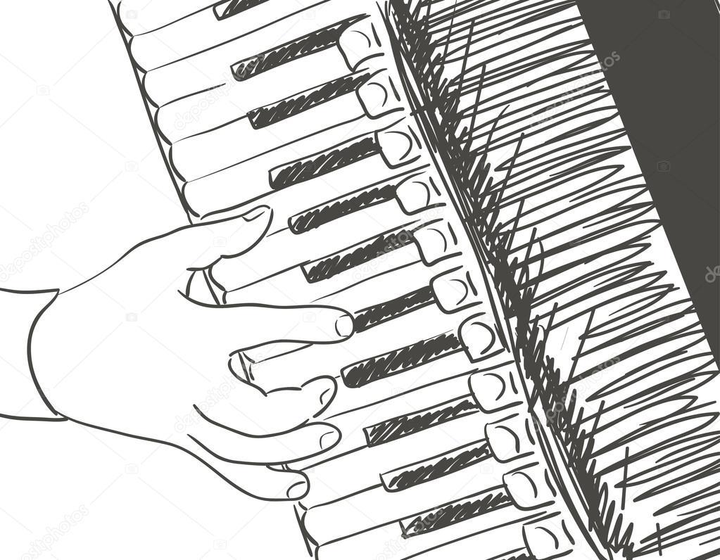 Игра аккордеонных иллюстрации. черный на белом маркер ... Черное Дерево На Белом Фоне