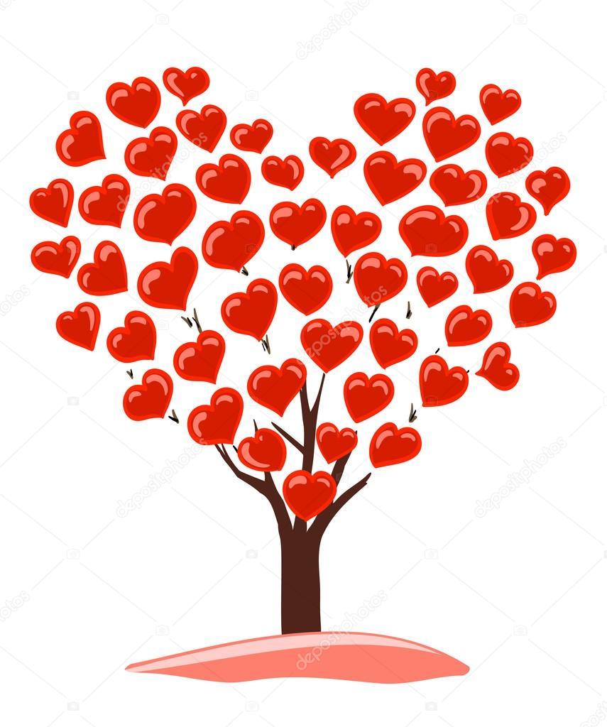 Image Avec Des Coeur résumé de dessin de l'arbre avec des coeurs comme couronne — image