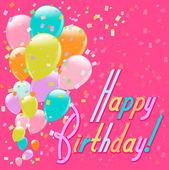 Létající barevné balónky a konfety happy birthday pozadí