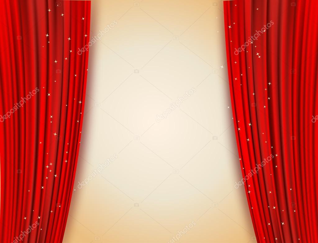 rode gordijnen open met glinsterende sterren achtergrond stockvector