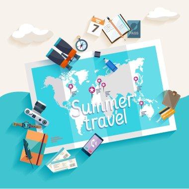Summer travel. Flat design. stock vector
