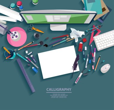 Calligraphy - Workplace concept.