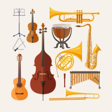 Music instruments. Flat design. stock vector