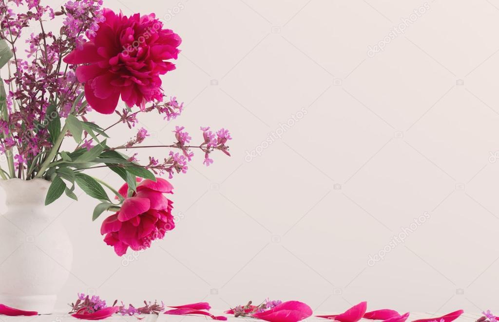 beautiful peonies in vase