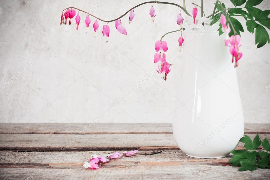 Bleeding heart flowers in vase