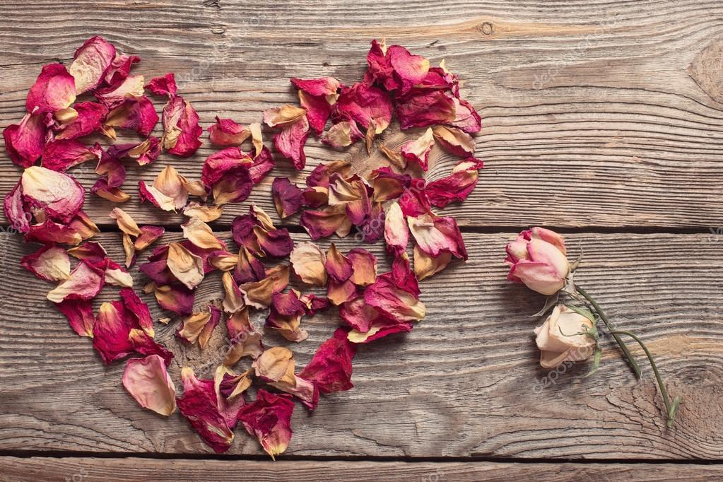 Dried rose petals on wooden table — Stock Photo