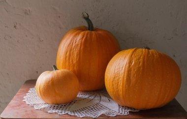 pumpkins on old table