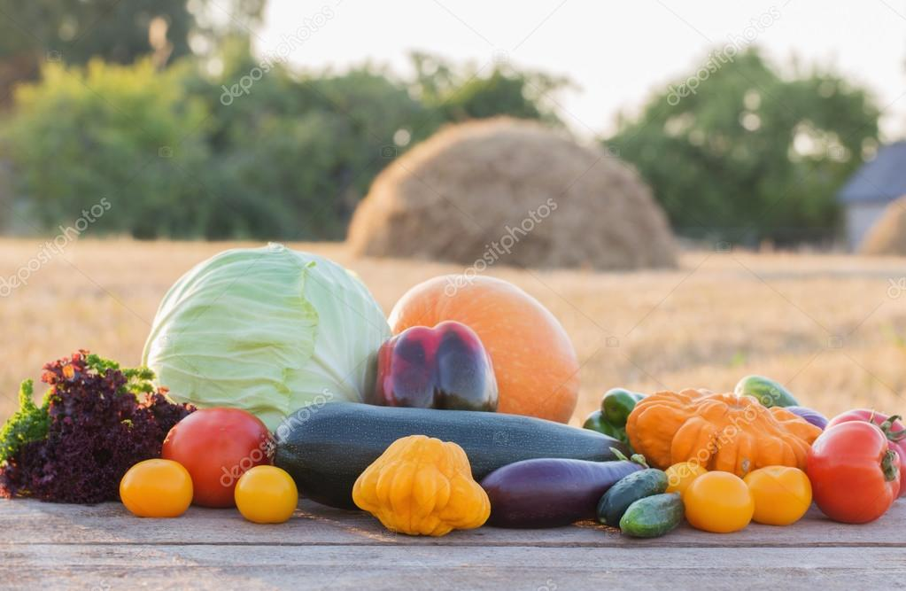 vegetables on wooden table outdoor