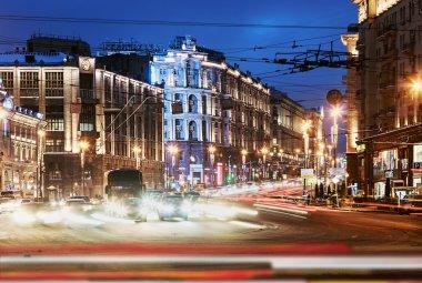 Tverskaya street in winter evenin