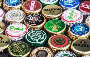 Background of beer bottle caps