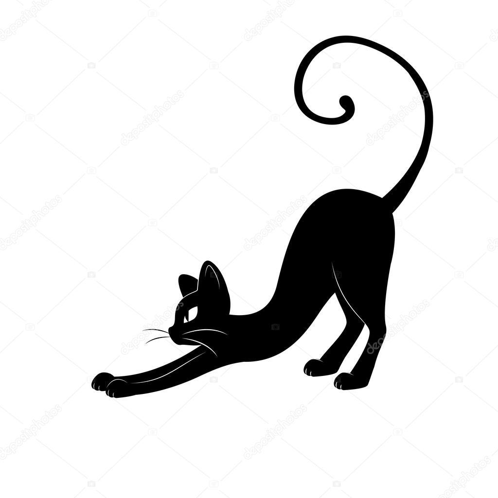 Gato negro silueta — Ilustración de Stock