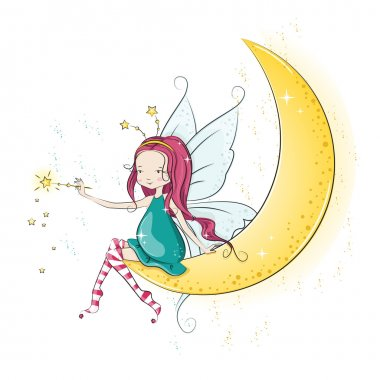 Cute Christmas fairy with magic wand. She  sitting on the moon. Vector illustration stock vector