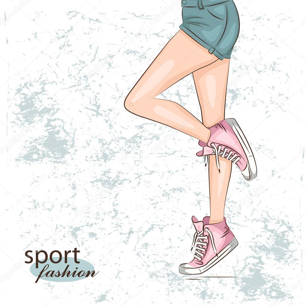 Жіночий тонкі ноги в кросівки. Векторні ілюстрації — Вектор від sivanova c8e60d6eebccc