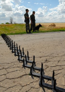 Russia, Saratov region, July 9, 2007: The border guards on the Russian - Kazakhstan border in exercises to detain terrorists.