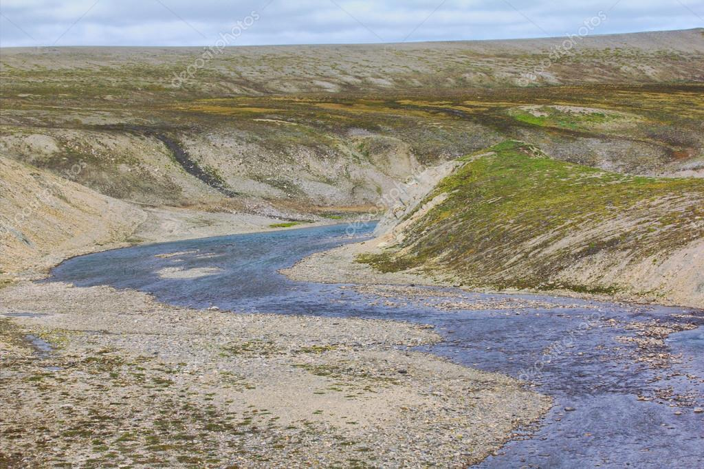Scarce landscape of cold Arctic desert. Novaya Zemlya archipelago. Nuclear testing range 1