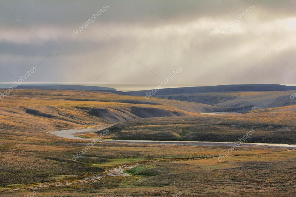 Scarce landscape of cold Arctic desert. Novaya Zemlya archipelago. Nuclear testing range 3