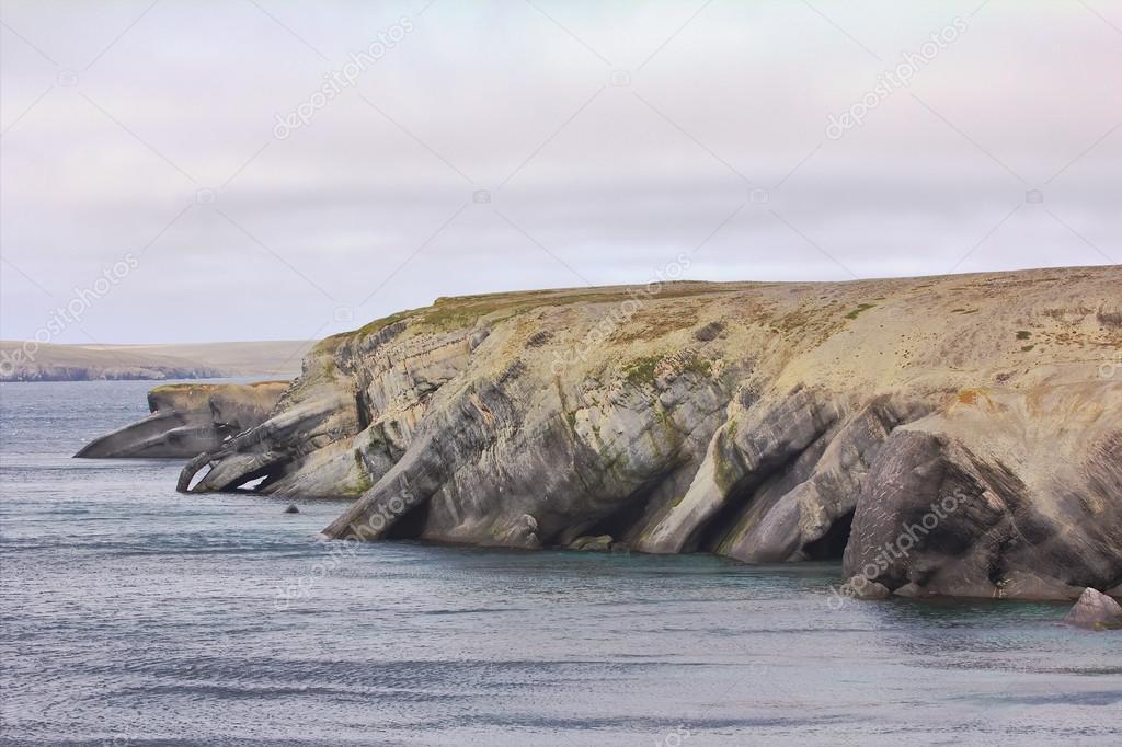 Dwelling nymphs and Proteus: bizarre rocky coast of Novaya Zemlya archipelago, Barents sea.