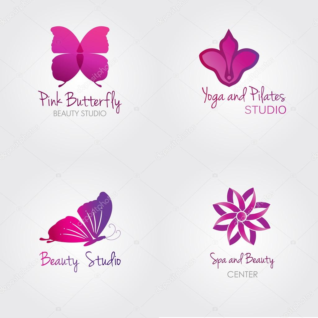 Set Of Colorful Spa Logo Vectors:  Spa Logo Set . Butterfly And Flower Logos. Stock Vector