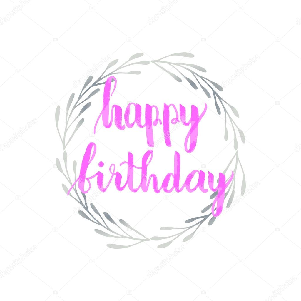 Greeting Card For Birthday With Illustration Of Silver Foil Wreath And Pink Ink Painted Text Happy On White Background Vektor Von Mcherevan