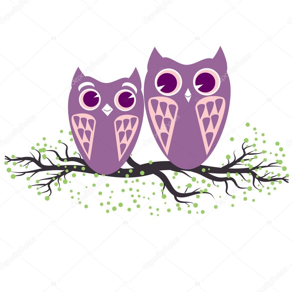 Deux Hiboux Violet Assis Sur La Branche D Arbre Illustration