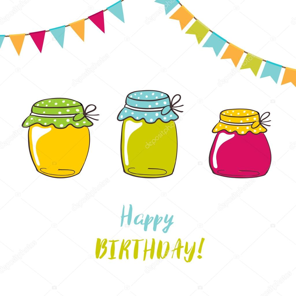 Birthday Card With Jam Jars And Brush Lettering Text Happy Foto Von Mcherevan