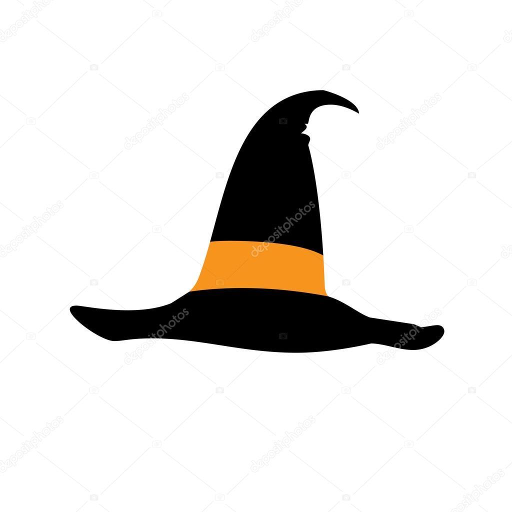 black icon witch hat halloween