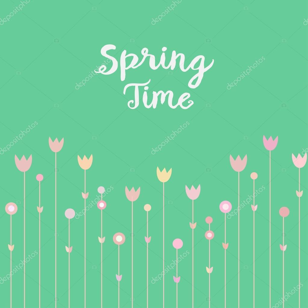 Flores de Primavera rosa sobre fondo verde menta. Simple y diseño de ...
