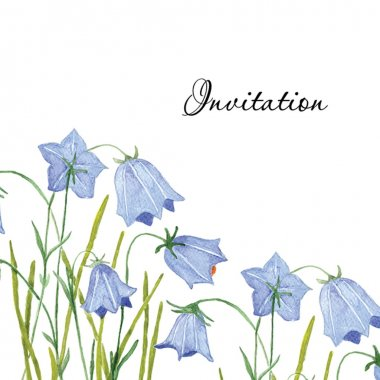 Watercolor bluebell flowers. Greeting or invitation card stock vector