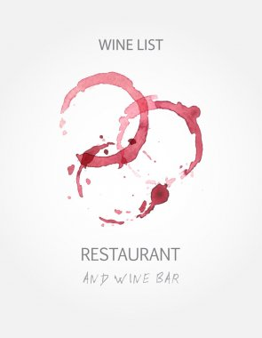 Wine list design templates with red wine stains