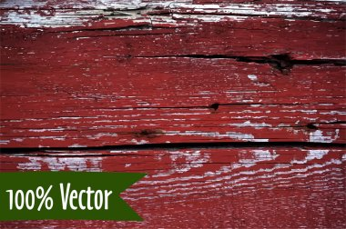 Wooden texture background. Vector illustration of red painted wood plank wall