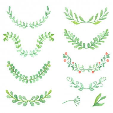 Watercolor painted laurels set. Floral wreaths and plants.