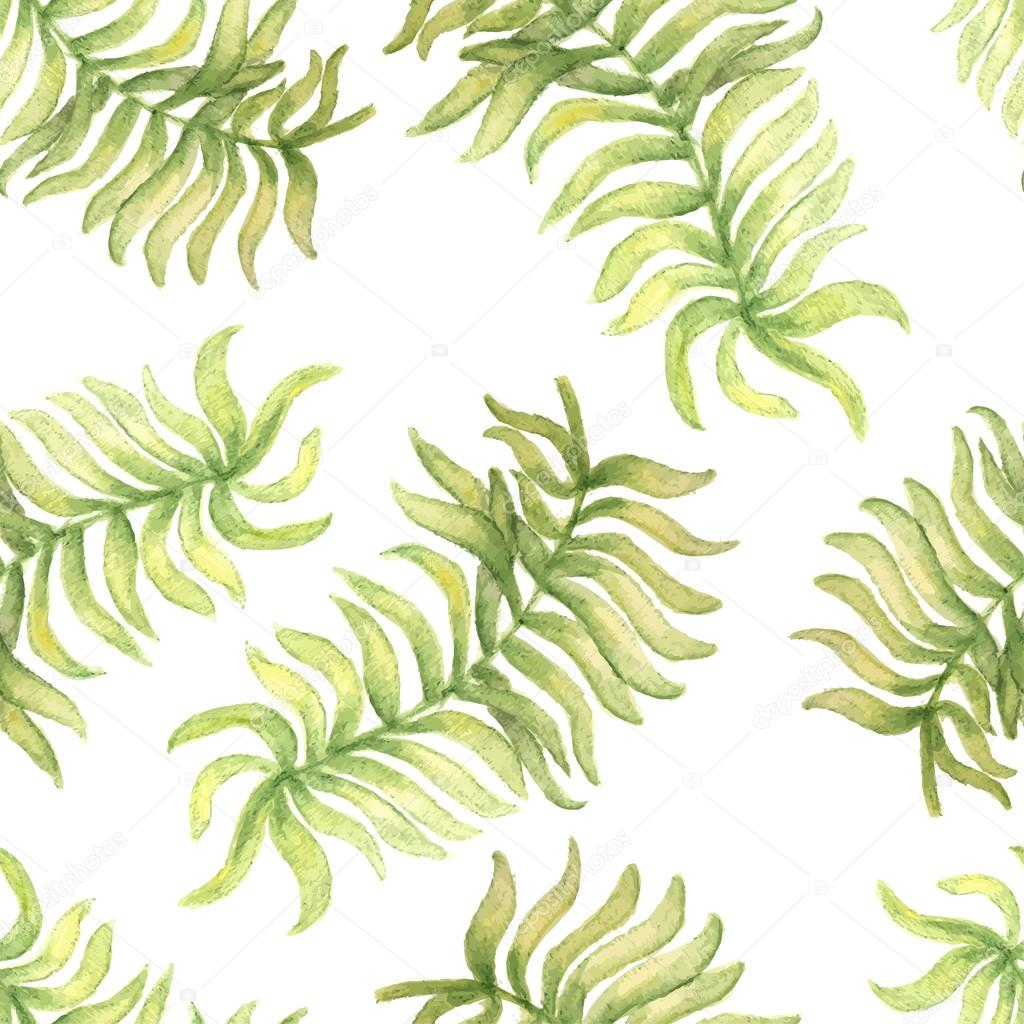 Fabric tree pattern - Watercolor Seamless Pattern With Palm Tree Leaf Vector Illustration For Design Of Gift Packs Wrap Patterns Fabric Wallpaper Web Sites And Other