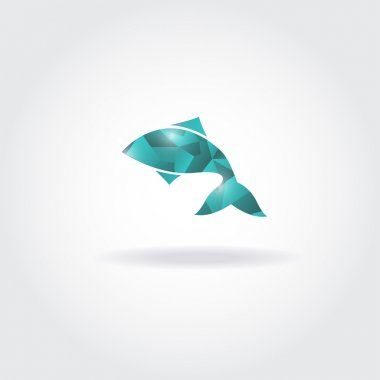 Vector illustration of abstract blue fish. Abstract fish logo for seafood restaurant or fish shop