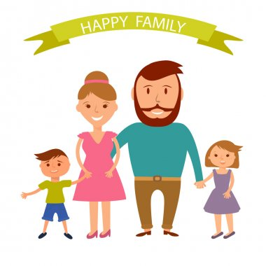 Happy family illustration. Father, mother, son and dauther portrait with banner