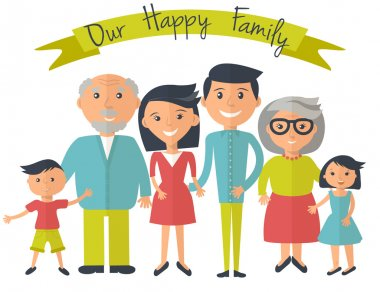 Happy family illustration. Father, mother, grandparents, son and dauther portrait with banner.