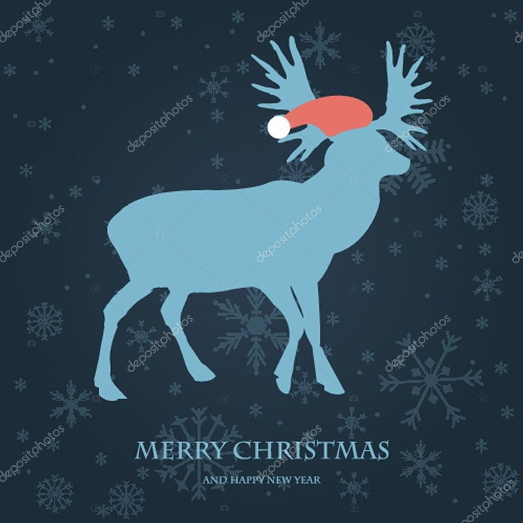 201bfcc514378 Christmas card with reindeer in Santa hat. Vintage vector illustration —  Vector by ...