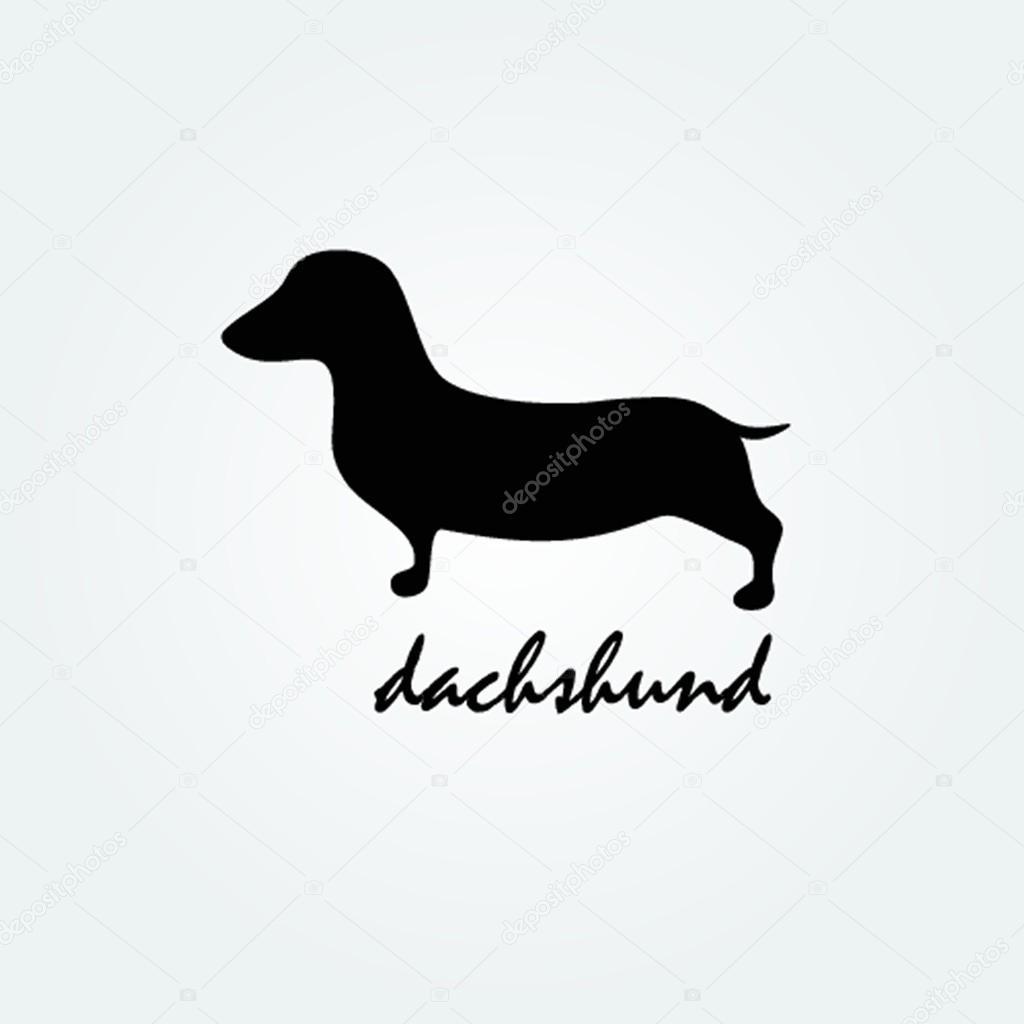 Dog breed dachshund silhouette vector logo design template