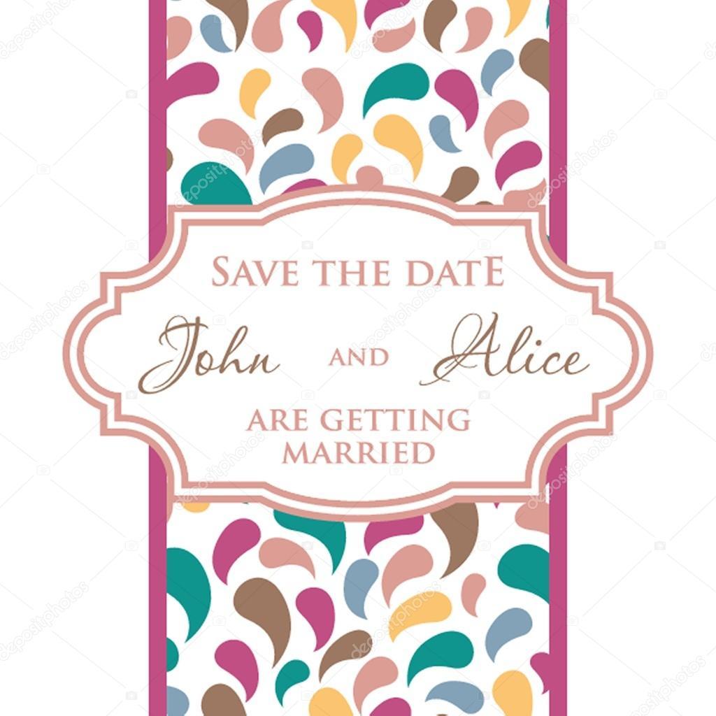 Wedding invitation card design with multicolored drops , floral ...